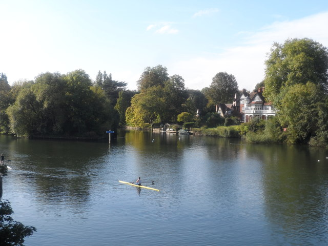 Rower on the River Thames seen from the Maidenhead Bridge