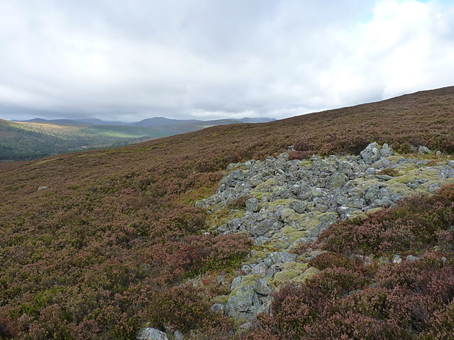 Boulder scree in the heather on Carn na Drochaide