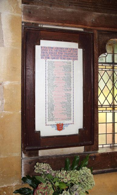 St Peter, Great Totham - War Memorial WWI