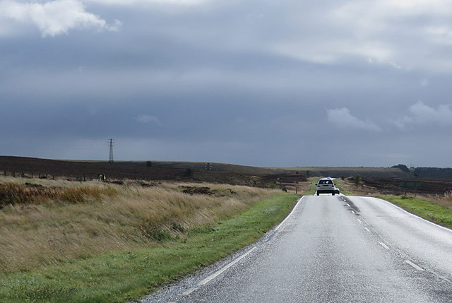 Heading south on a moorland road