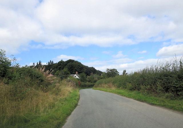 Un-named lane approaches Llwyn-y-cil