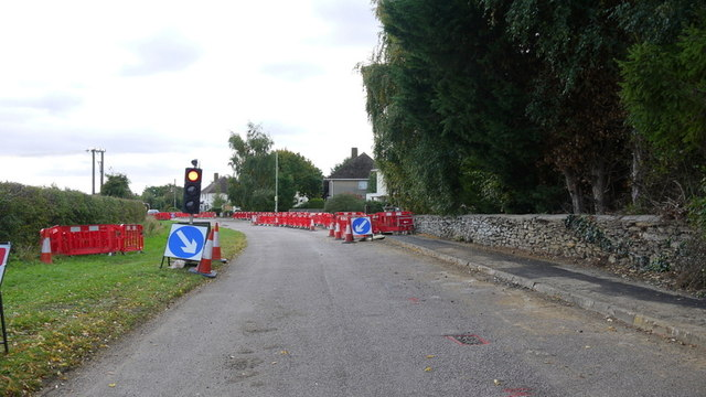 Three-way road works in Woodnewton