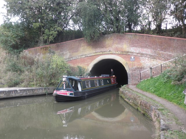 Narrow boat emerging from Braunston Tunnel