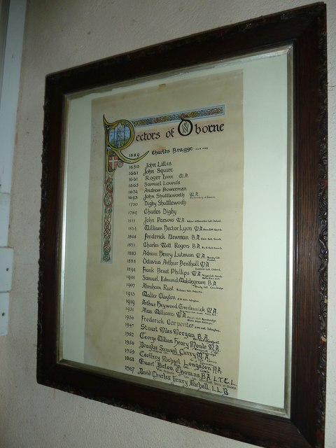 Oborne: New St Cuthbert's (incumbency board)