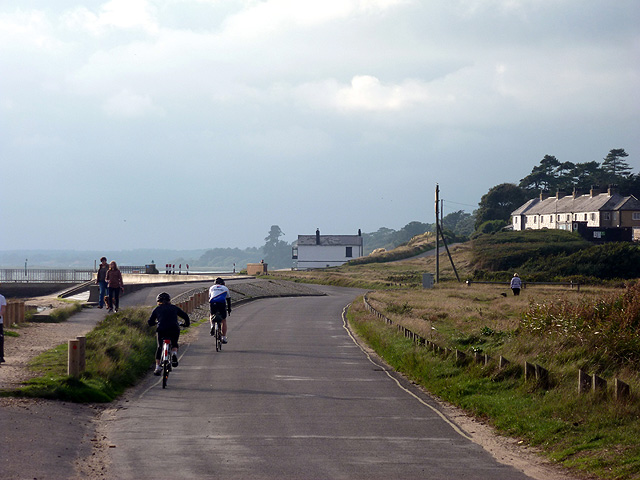 Cycling on the Beaulieu Road at Lepe