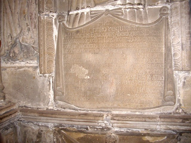 17th century inscription on Bishop Scourgal's tomb
