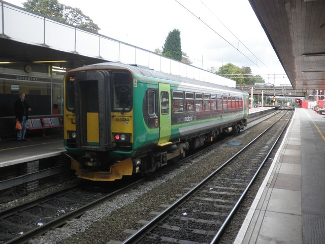 Local train stands at Platform 5, Coventry
