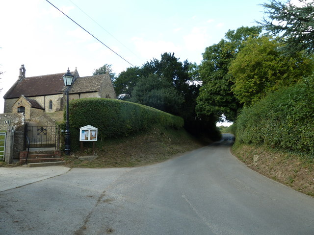 Looking northwest up Church Lane at Goathill