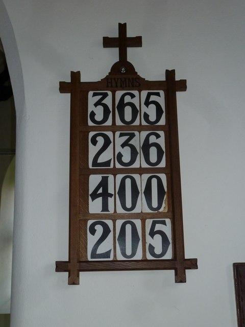 Saint Peter, Goathill: hymn board