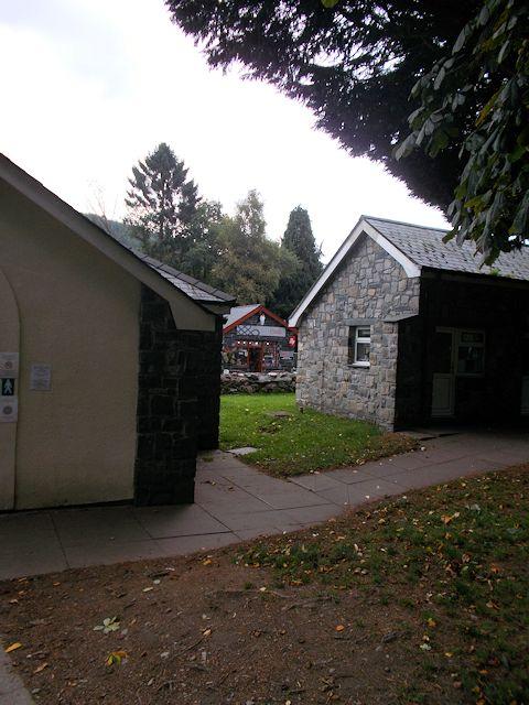 Coffee shop between the buildings
