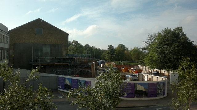 View of construction work on the University of Hertfordshire campus from the first floor of the Film, Music and Media Building