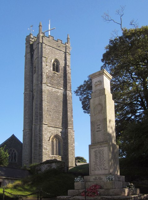 Church tower and war memorial, Landrake