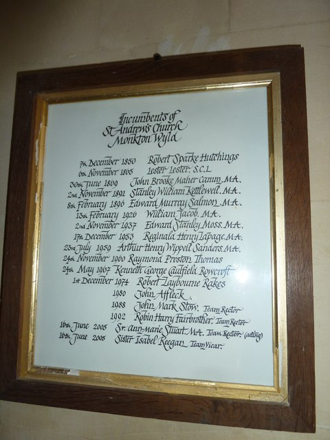 St. Andrew, Monkton Wyld: incumbency board