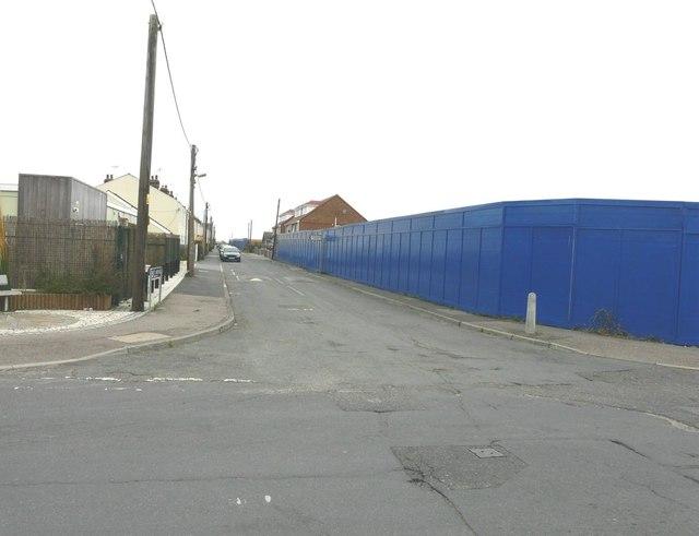 Blue hoarding along First Avenue