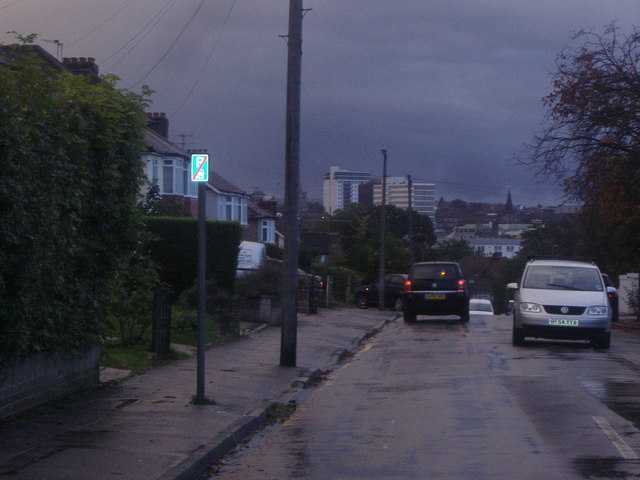 View of central Sutton from Woodside Road