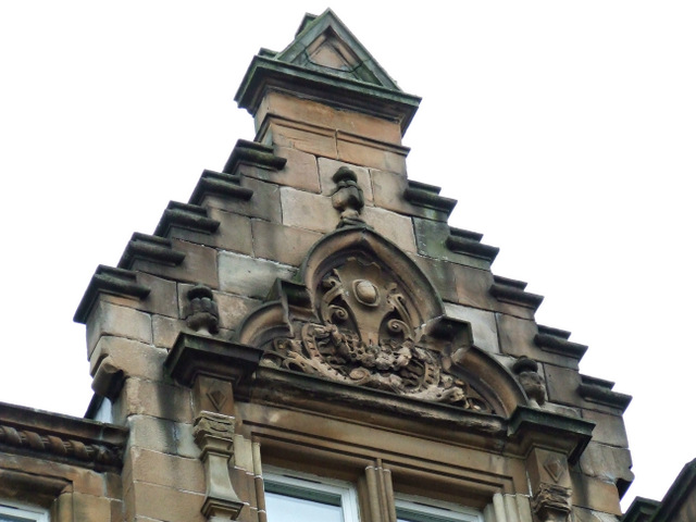 Decorated crow-stepped gable