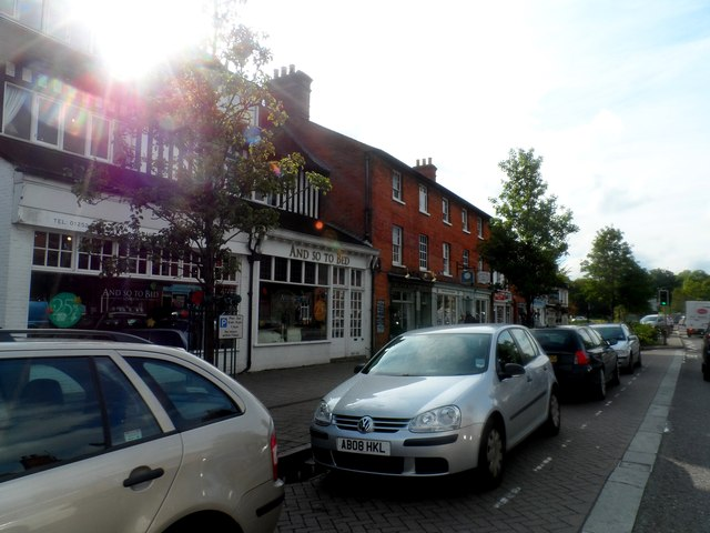 Shops and parked cars, Hartley Wintney