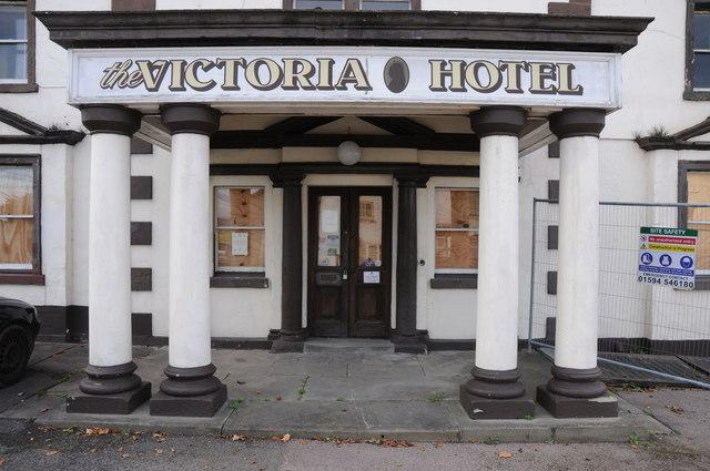 Boarded entrance to Victoria Hotel