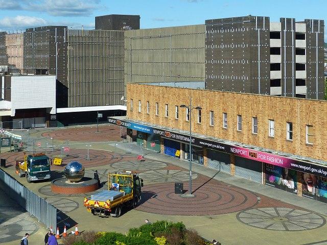 Demolition preparations, John Frost Square, Newport