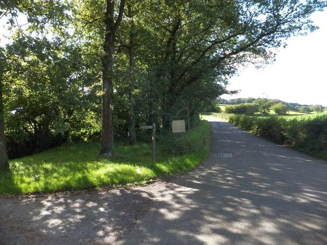 B3042 at Millmoor Farm and Two Moors Way