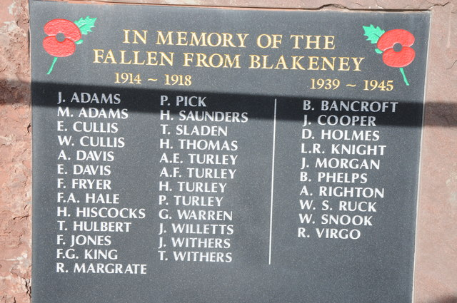 Names on Blakeney War memorial