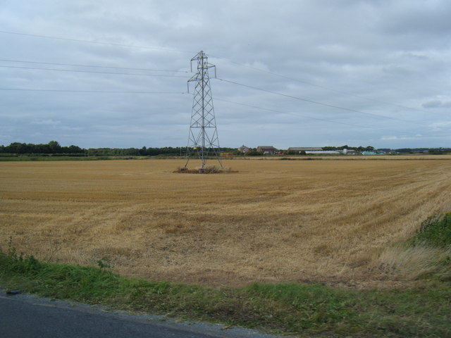 Pylon and farmland from Wyke Lane