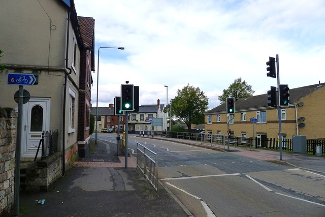 Cycle Route 6 crossing Cheapside (B6040), Worksop