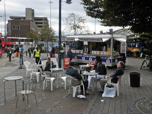 Outdoor cafe, Birmingham Market