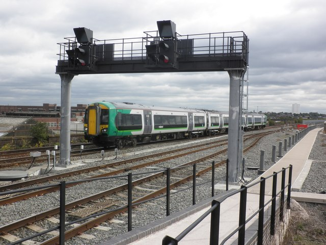 Local train approaches Moor Street station