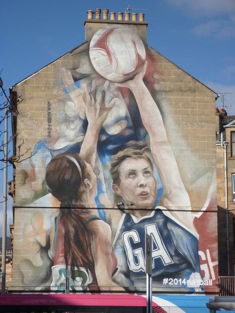 Glasgow Townscape : 2014 Netball Mural At Merkland Street, Partick