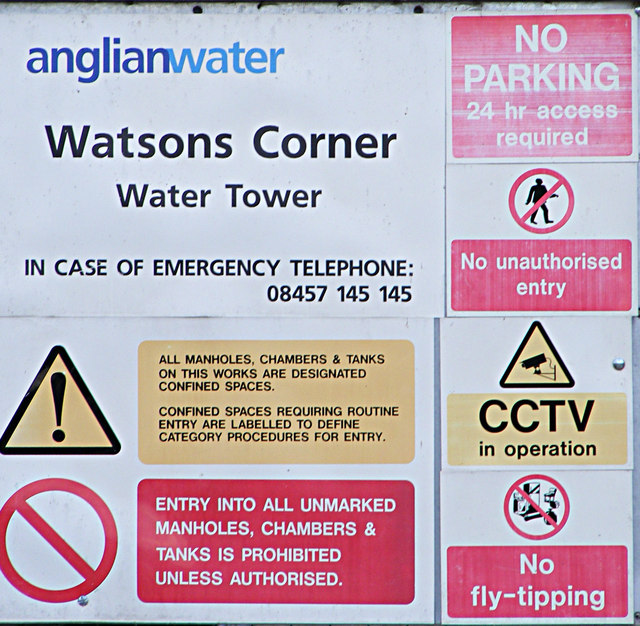 Sign on Watsons Corner Water Tower