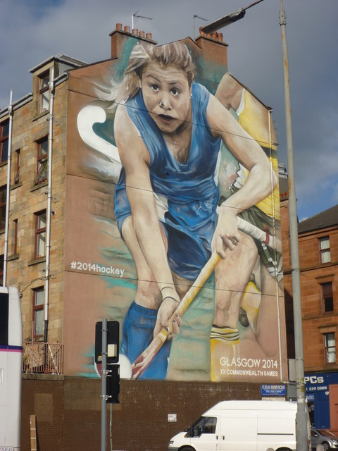 Glasgow Townscape : 2014 Hockey Mural On Vine Street, Partick