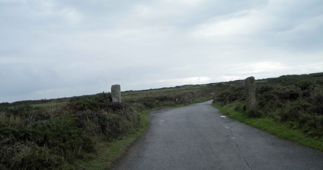 Posts near the cattle grid on the access road to Kynance Cove