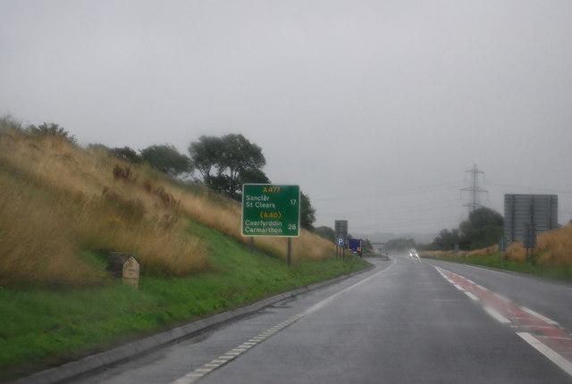 A477, eastwards