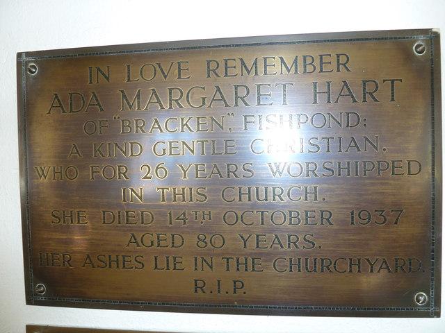St John the Baptist, Fishpond Bottom: memorial (1)