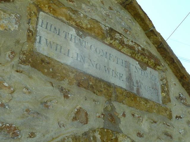 St John the Baptist, Fishpond Bottom: inscription on the porch