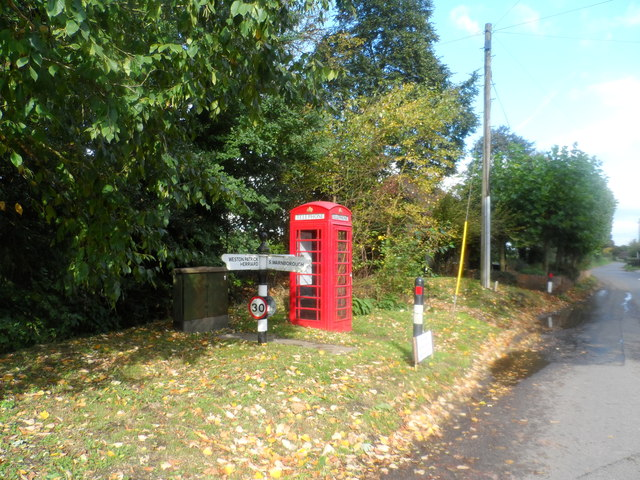 Red phone box and junction, Upton Grey