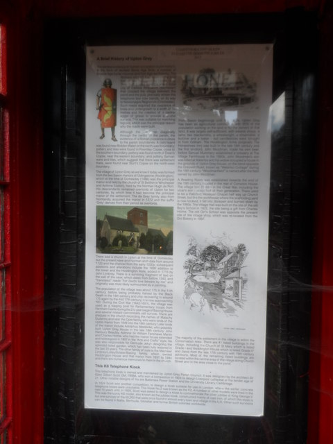 Information poster about Upton grey inside phone box