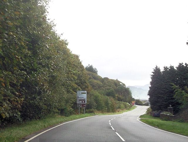 A496 approaching junction for toll bridge
