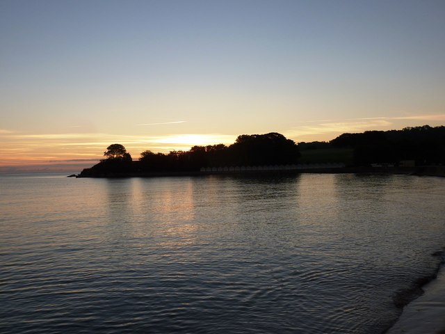 Calm sea at Broadsands at sunrise