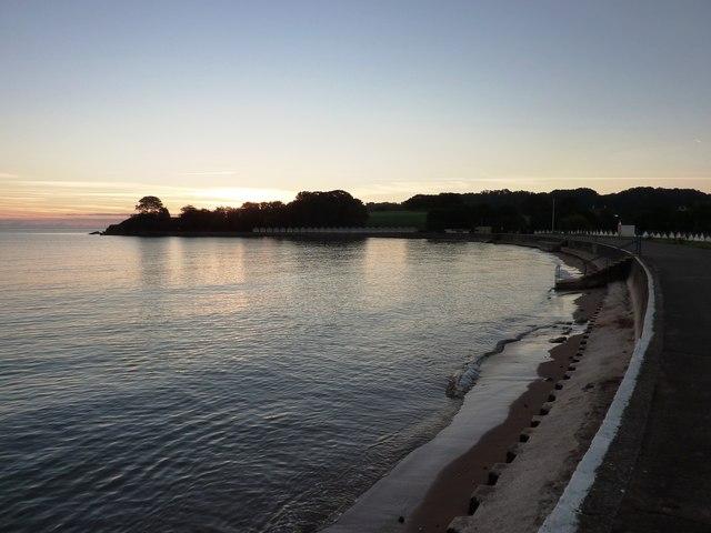 Sweep of the promenade at Broadsands beach, first light