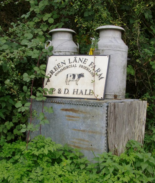 Milk churns at the entrance to Green Lane Farm