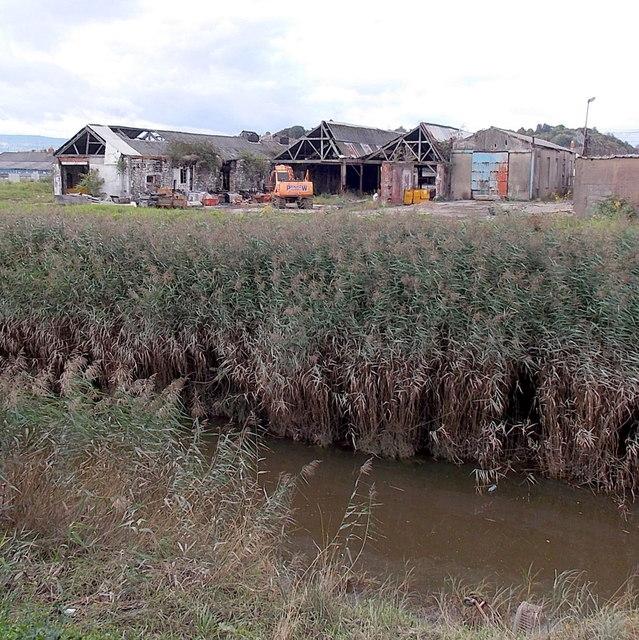 Derelict industrial buildings in Crindau, Newport