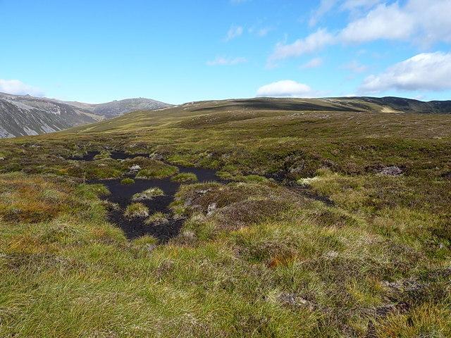 Peaty ground on Meall Glasail Beag