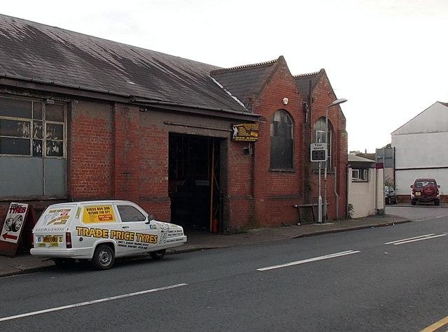 Trade Price Tyres premises and Reliant Robin, Crindau, Newport