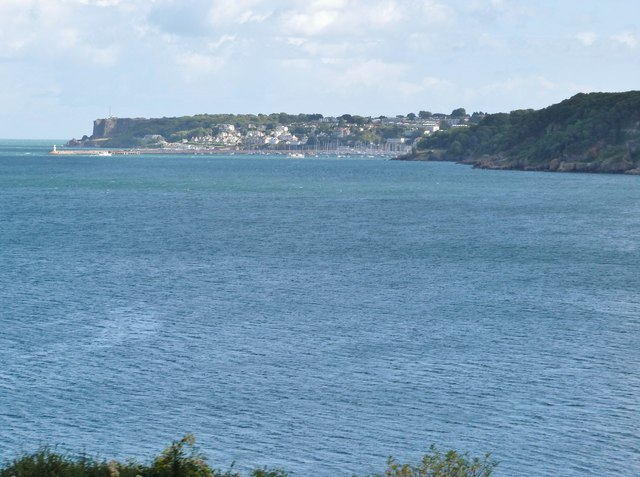 Long lens shot of Brixham from the train