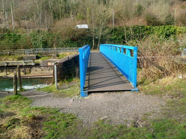 Across a river footbridge south of Cwmavon