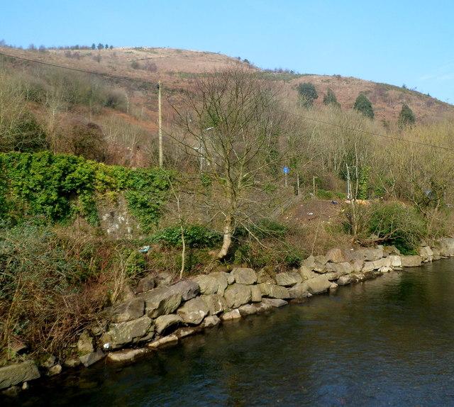 Hillside view from a river footbridge south of Cwmavon