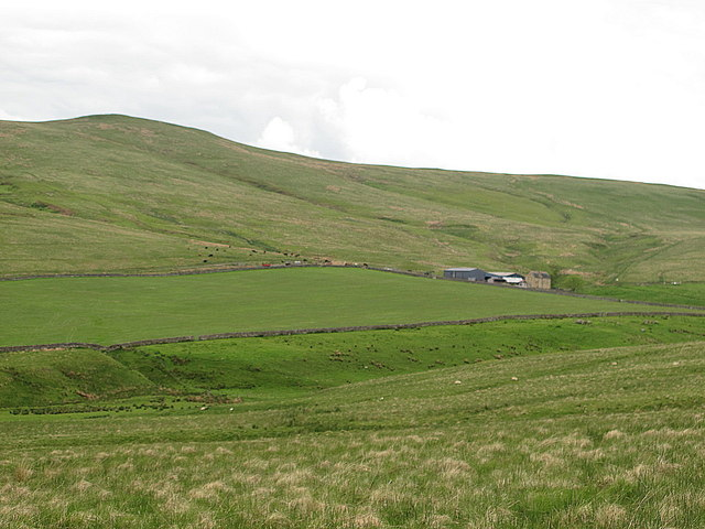 The valley of Cottonshope Burn below Ravens Knowe
