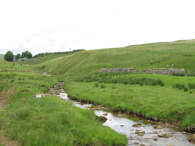 Cottonshope Burn and the sheepfold south of Cottonshope
